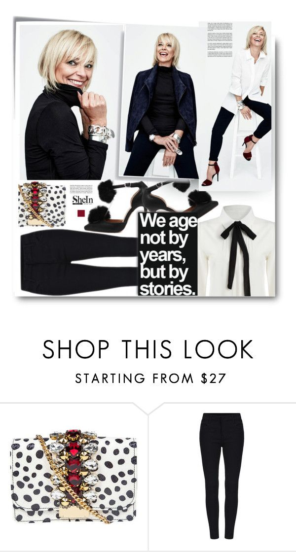 """Shein.com: We age not by years, but by stories."" by hamaly ❤ liked on Polyvore featuring GEDEBE, Post-It, ootd, blackandwhite, Sheinside and blouses"