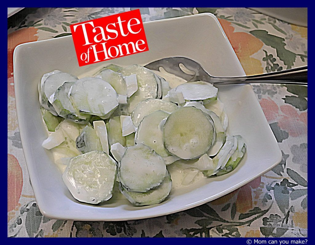 Taste Of Home Sour Cream Cucumbers Sour Cream Cucumbers Creamed Cucumbers Refreshing Food