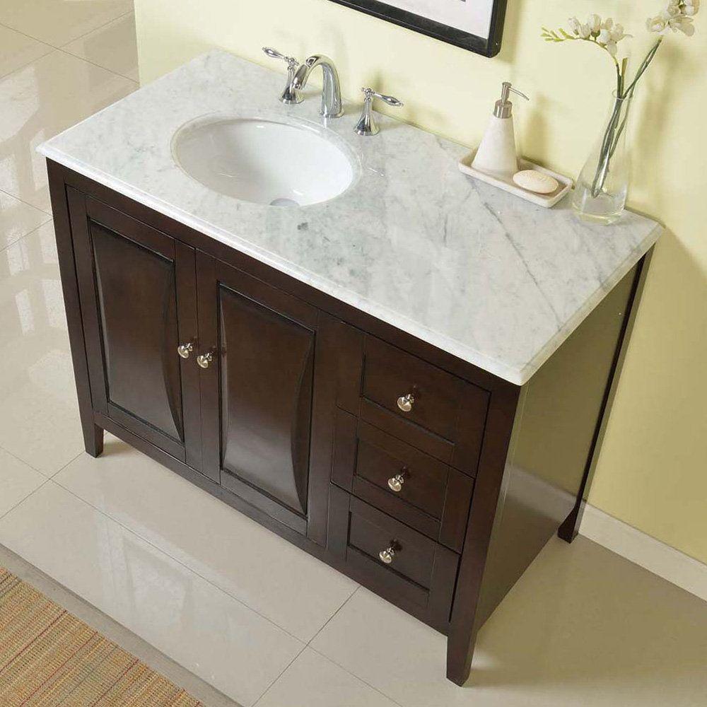 Silkroad Exclusive 45 Inch Carrara White Marble Top Bathroom Off