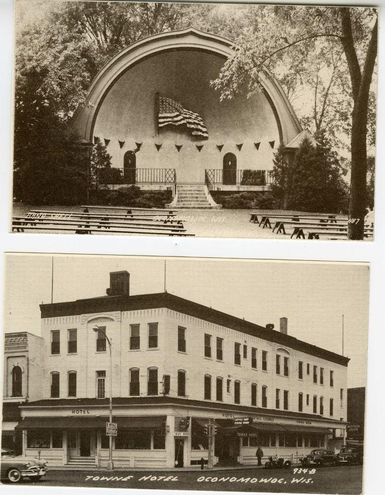 Vintage Postcard of Photo Oconomowoc  WI Towne Hotel, Band