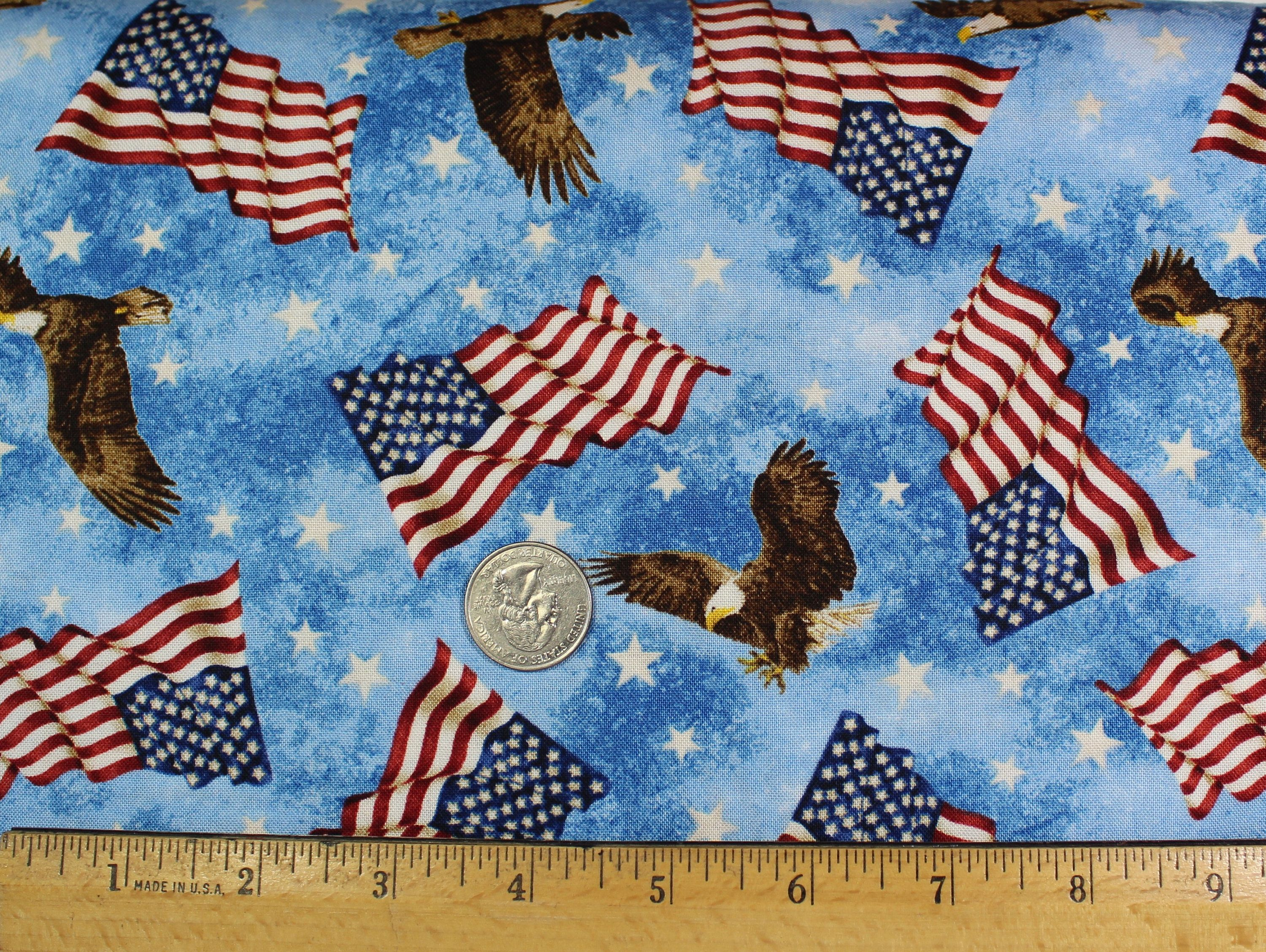 Made in the USA Flag American Flags Stars /& Stripes Cotton Fabric By The Yard