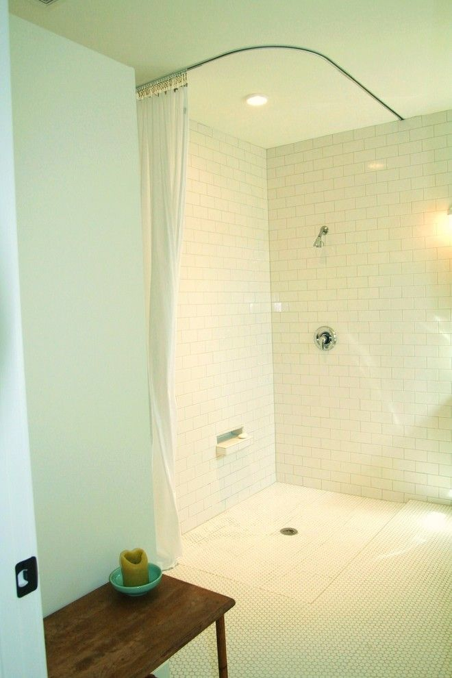 Bathroom L Shaped Shower Curtain Rod Traditional With Ceiling