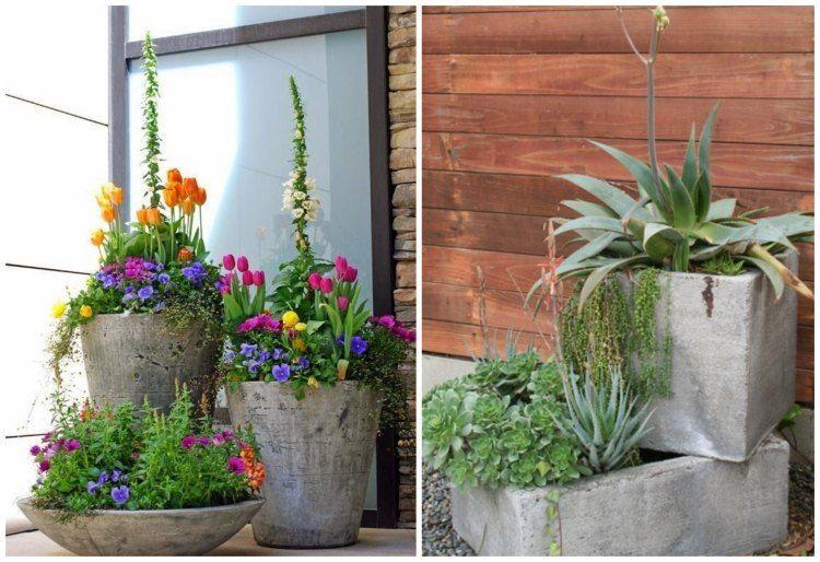 pflanzk bel aus beton in verschiedenen formen garden balcony pinterest garten deko. Black Bedroom Furniture Sets. Home Design Ideas