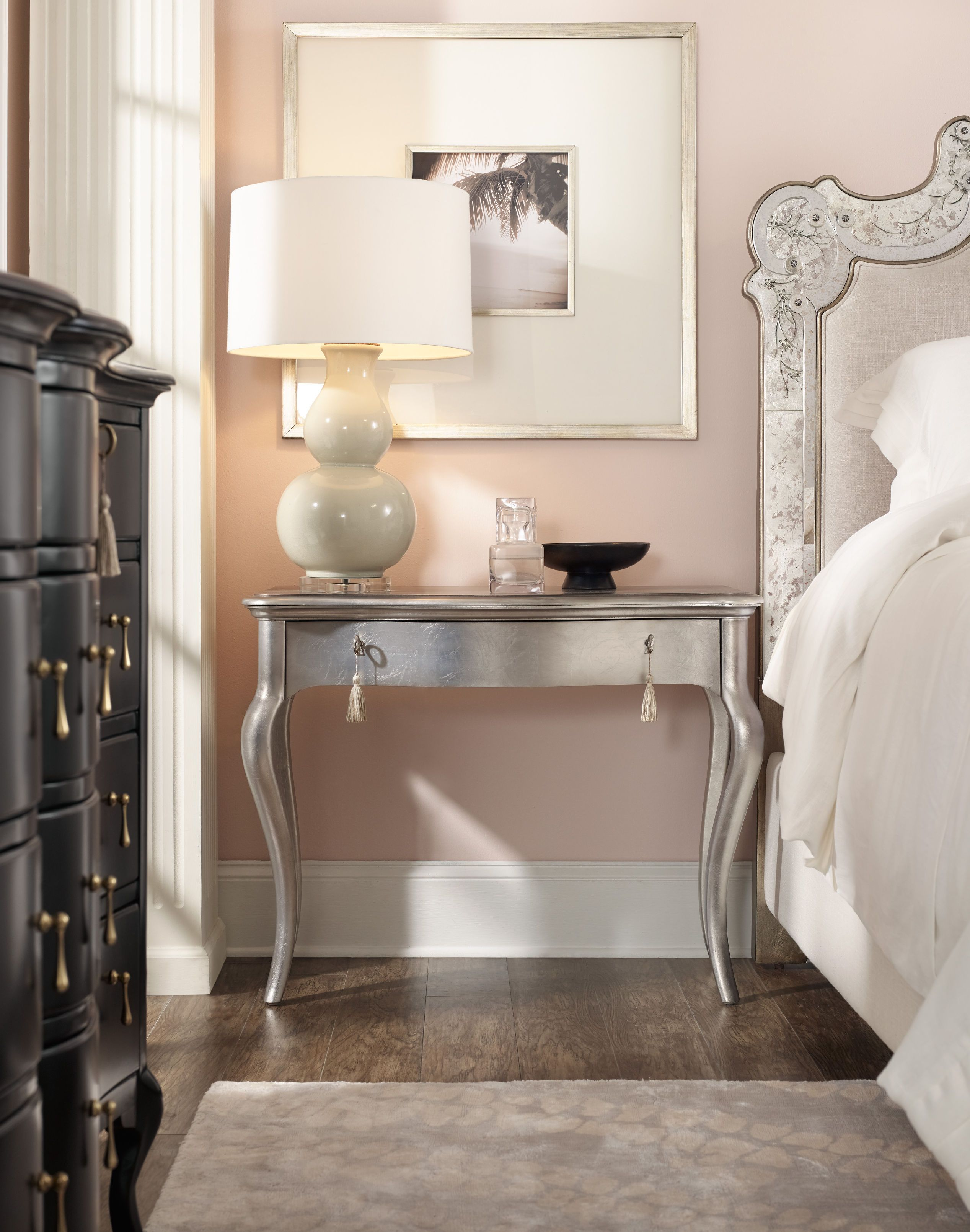 the delicate opulence of this cabriole leg nightstand dressed in