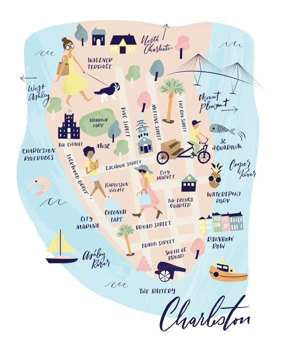 The Charleston Collection - Map Art Print in 2019 | Products ... on