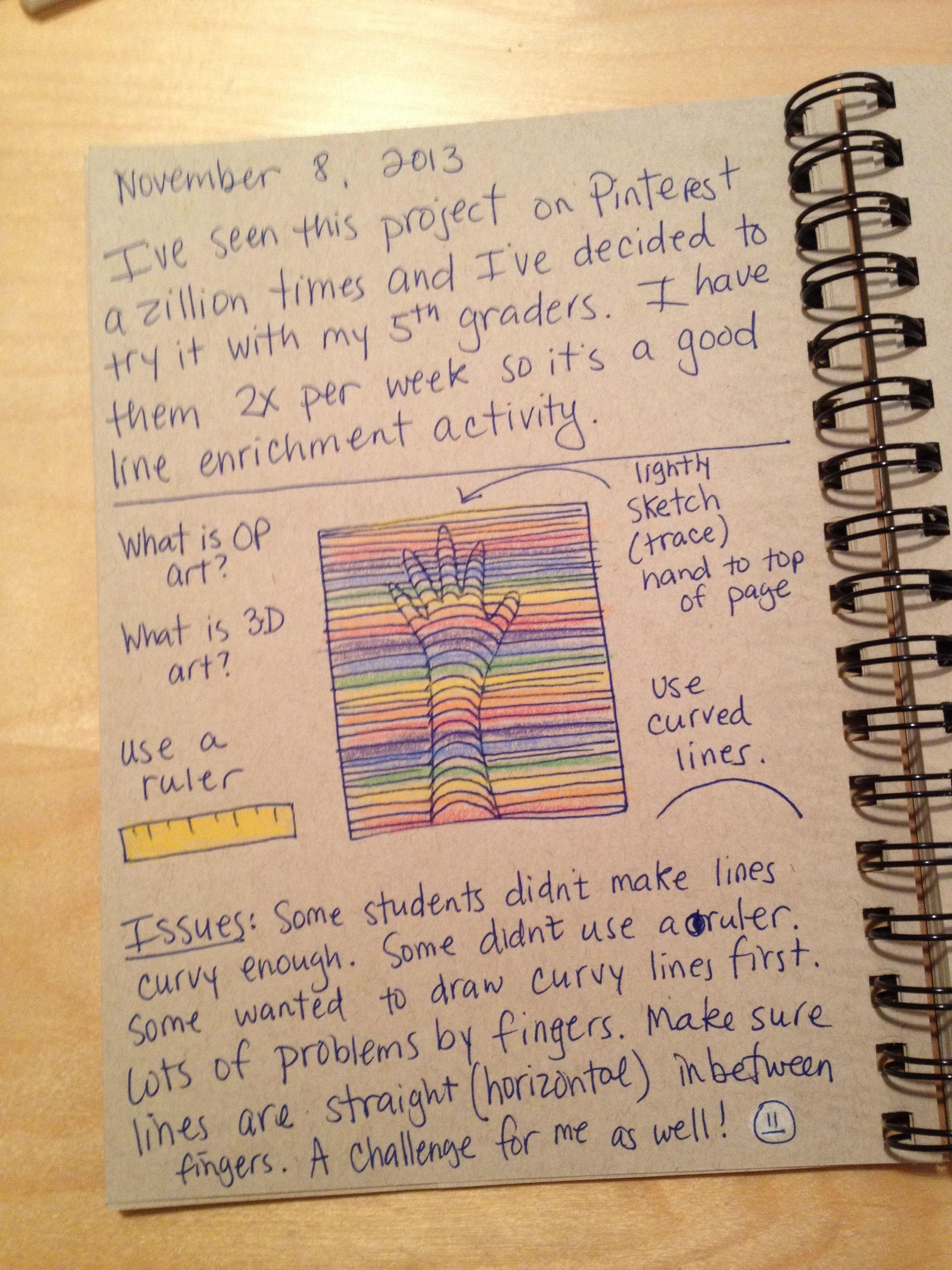 Art Teacher' Journal. 3d Line Hand Project. With