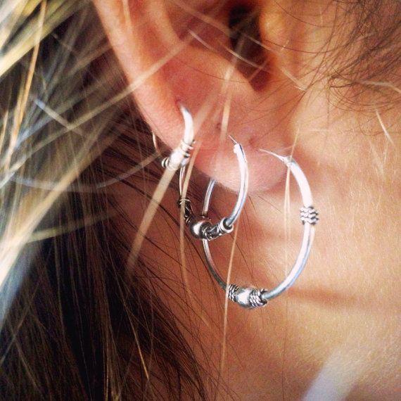 755782a66fa1 Aros de Bali aros de plata de ley Bali Hoop Earrings