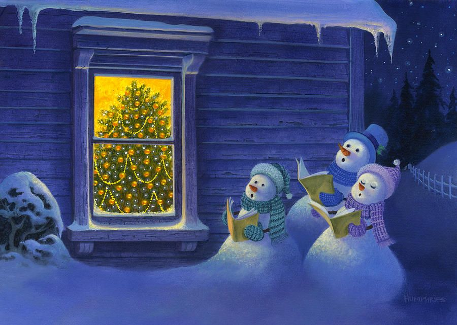 Here We Come A Caroling Painting  - Here We Come A Caroling Fine Art Print