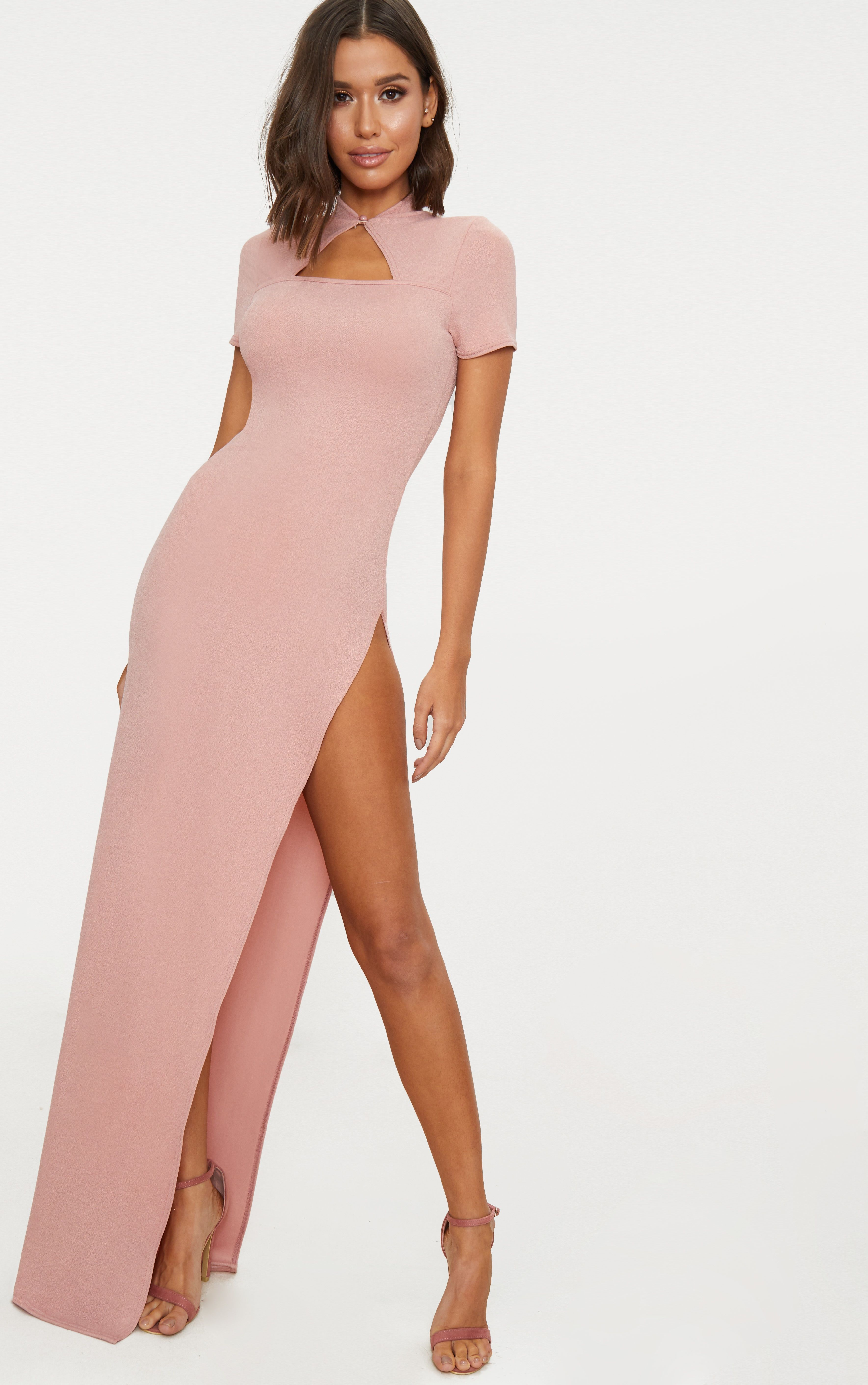 Real Sale Online PRETTYLITTLETHING Oriental Cut Out Detail Maxi Dress Store jfwz4NAc