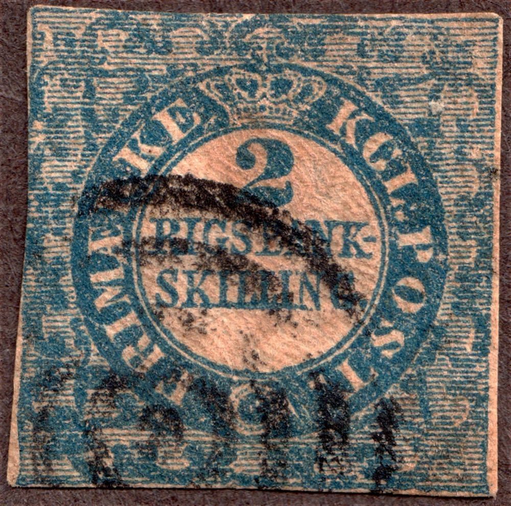 Denmark Scott #1a 2rs Blue, imperf Yellow Brown Burelage,Typograph cat 1200 RARE #Stamp #Collector