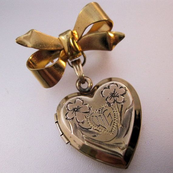 1940s Vintage Heart Locket Pendant Brooch by BrightEyesTreasures, $45.00