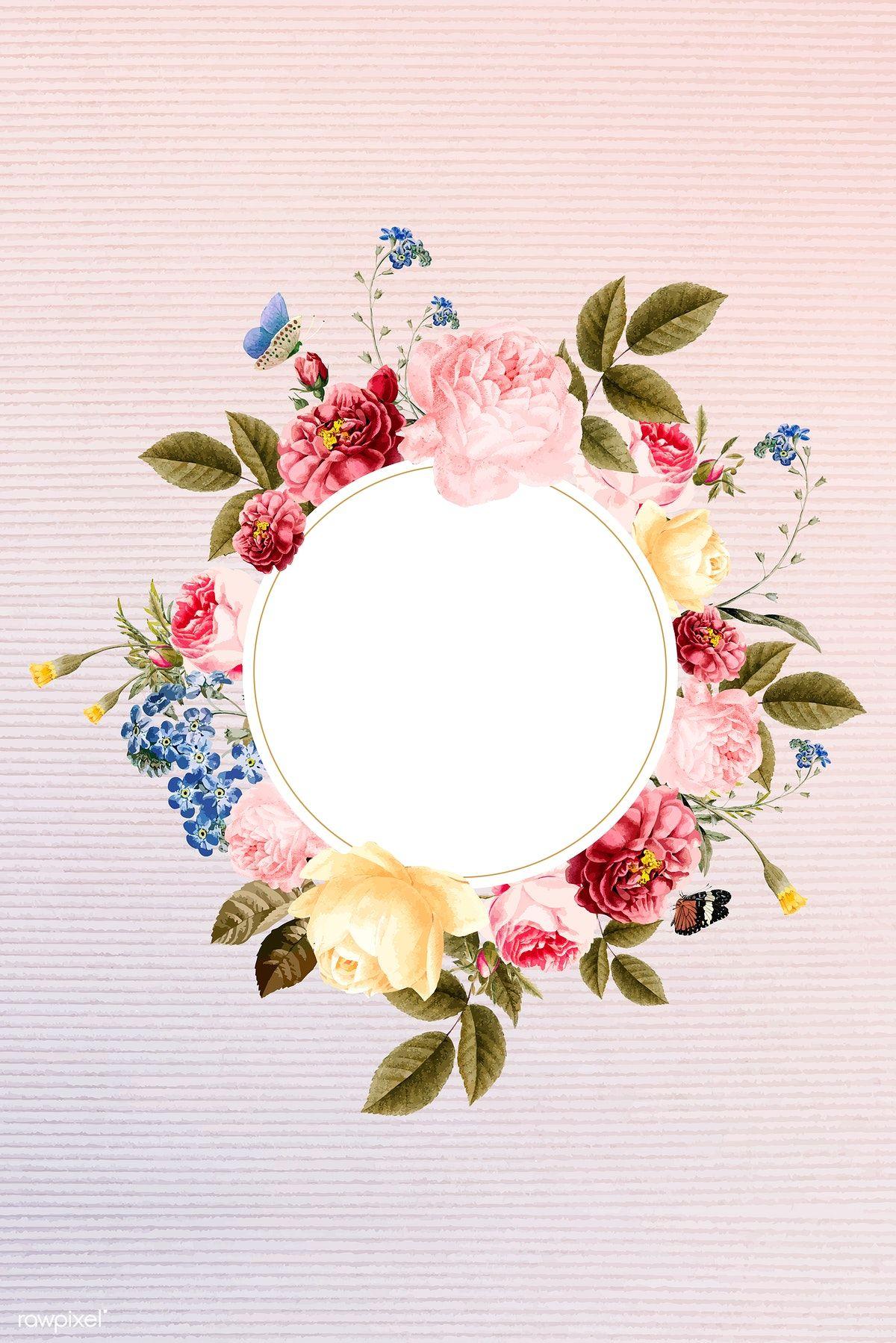 Download Premium Vector Of Floral Round Frame On A Fabric Background Round Frame Flower Doodles Floral Illustrations