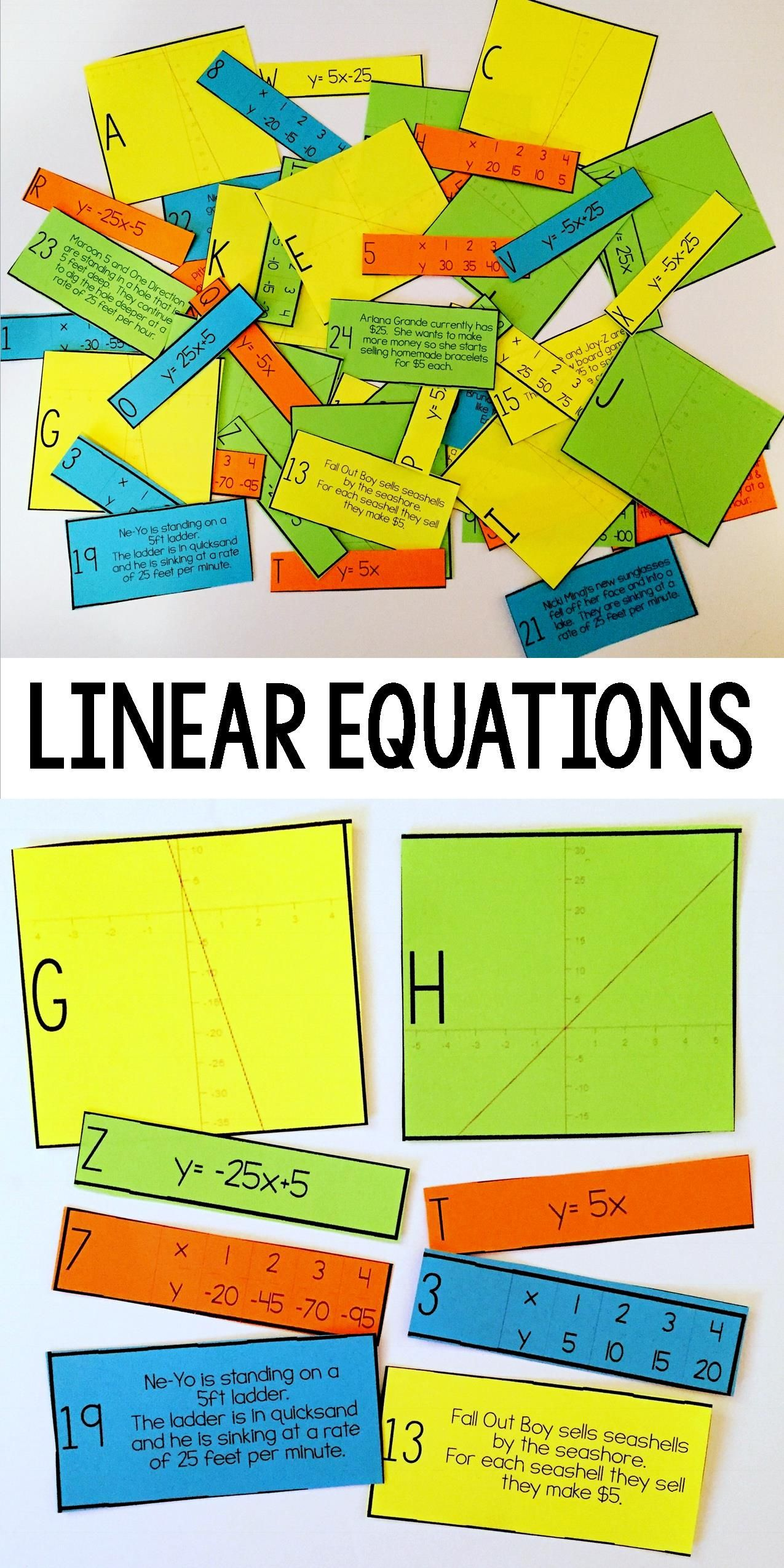 medium resolution of Linear Equation Card Match Activity (Slope Intercept Form)   Algebra  activities
