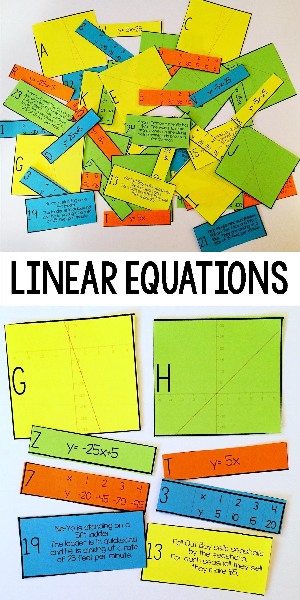worksheet Slope Intercept Form Worksheets 8th Grade linear equation card match slope intercept form math form