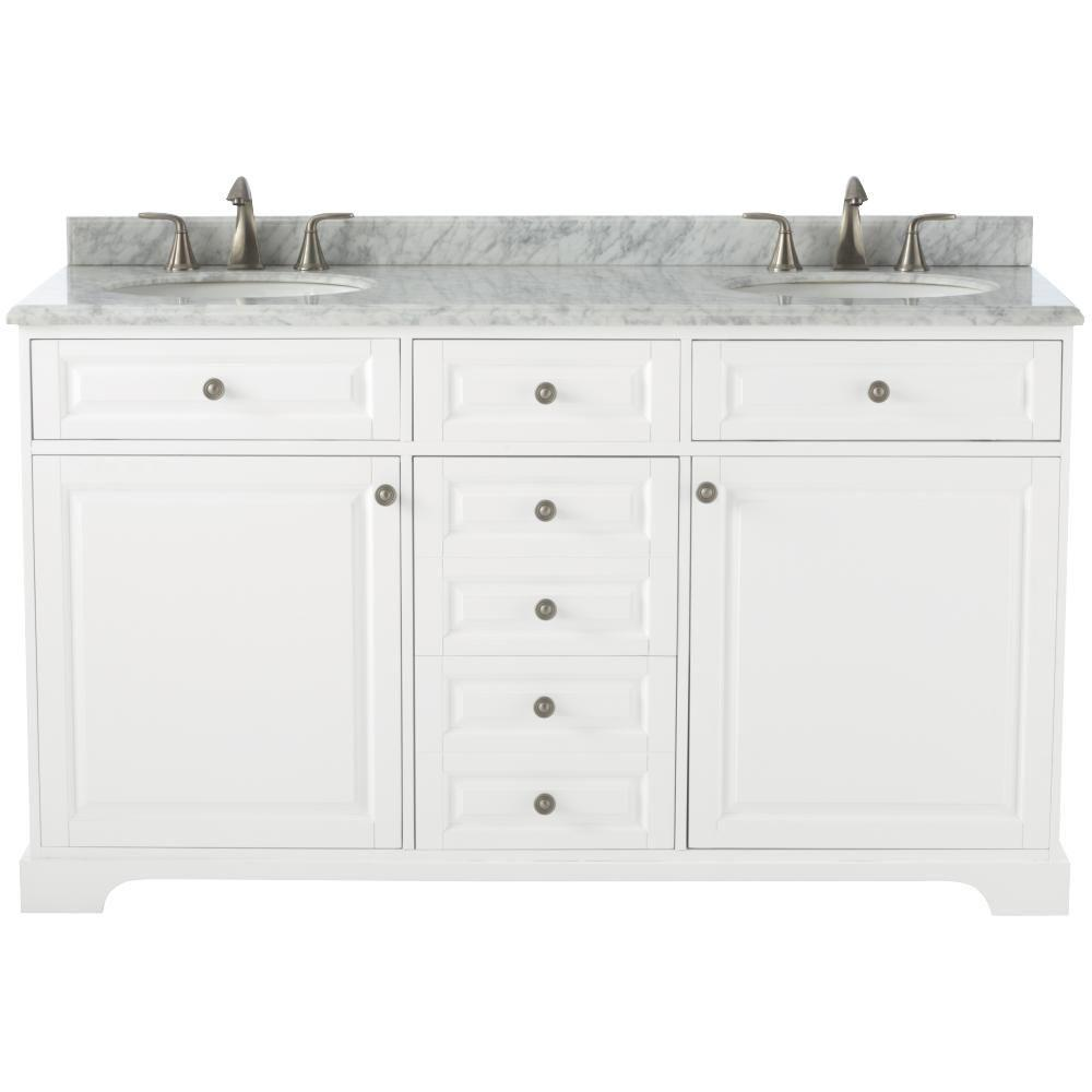 Home Decorators Collection Highclere 60 In W X 22 In D Double Bath Vanity In White With Natural Marble Vanity Top In Carrera White 9554200410 Marble Vanity Tops Vanity Top Double Bath