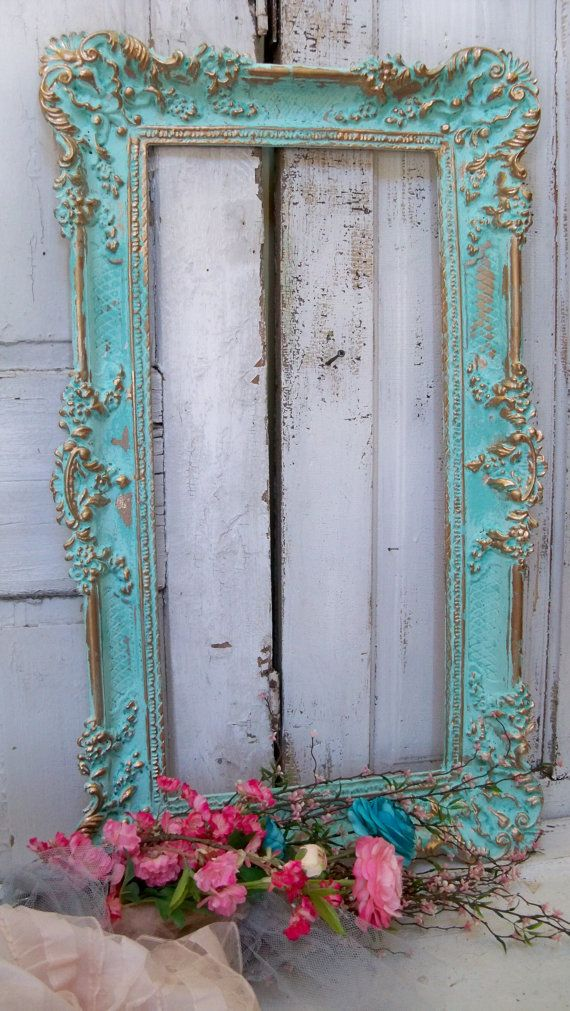 Large Ornate Vintage Frame Aqua Accented Gold Shabby Chic