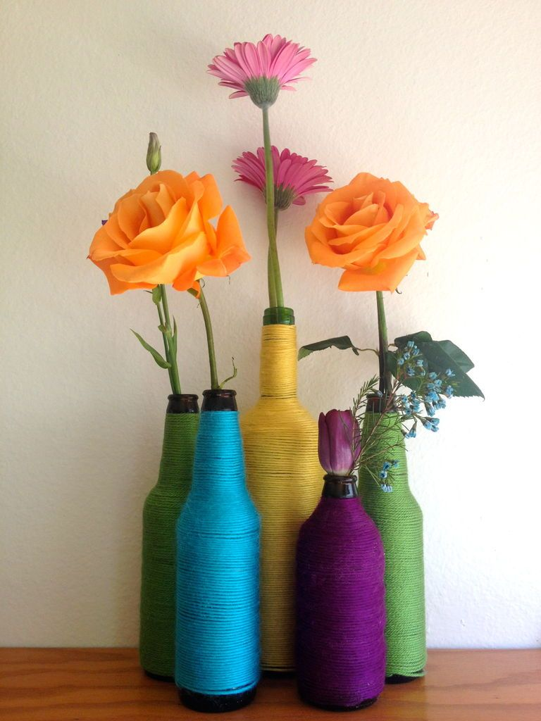 Pinterest & How to Turn a Beer Bottle Into a Colorful Flower Vase   DIY Home ...