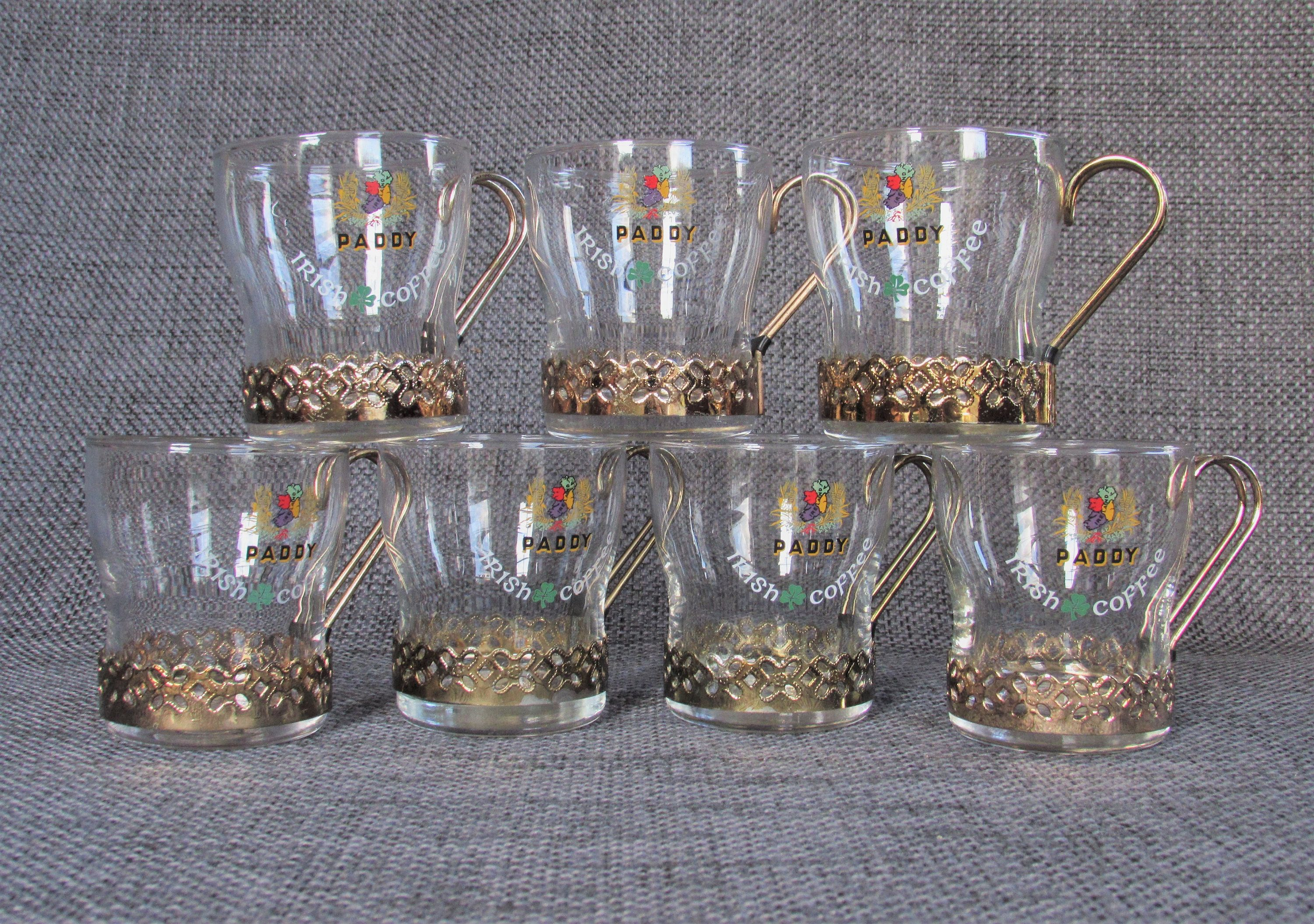 1970s Set of 7 Paddy Irish Coffee glasses with holders