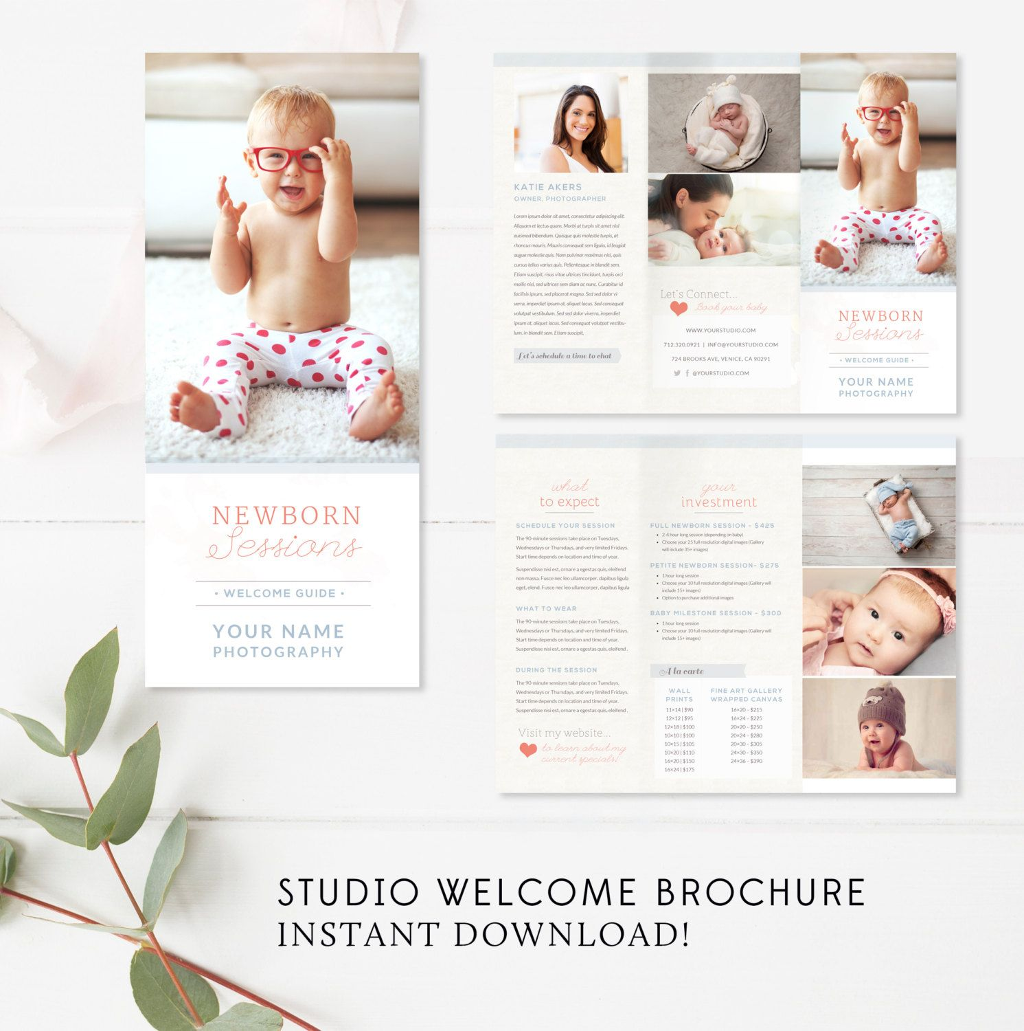 Newborn Trifold Brochure Flyer  Photography Guide  Newborn