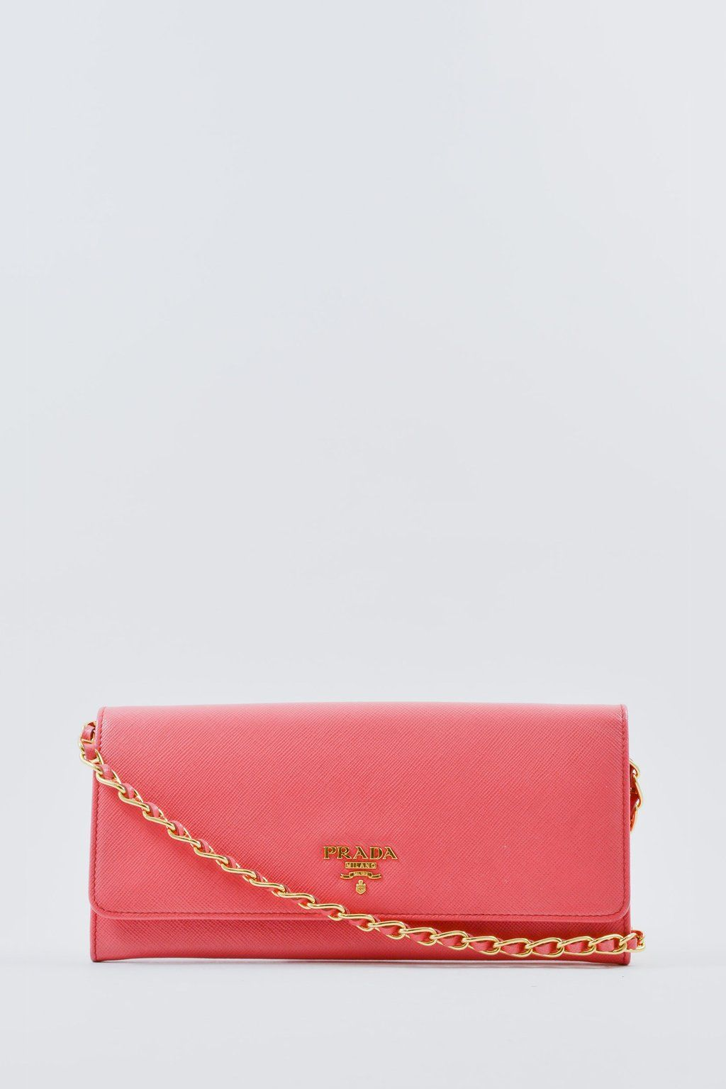 adf77a8e96fd Prada Pink Saffiano Wallet On Chain  MineAndYours