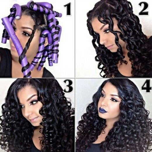 Flexirods On Long Hair Natural Hair Styles Hair Styles Long Hair Styles