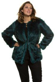 8e4dc0d9a1f Fashionable Faux Fur Round Neck Hook and Eye Closure Petrol Jacket ...