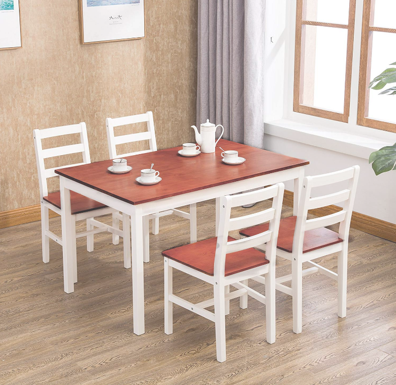 2d7bb6992 Mecor 5 Piece Dining Table Set with 4 Chairs Wood Kitchen Room Furniture Red