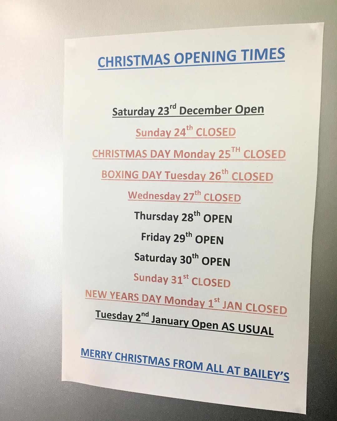 Our opening times over the Christmas period Only today and tomorrow ...