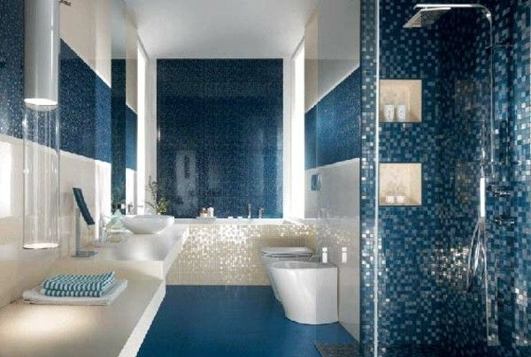 blue floor tiles in the bathroom