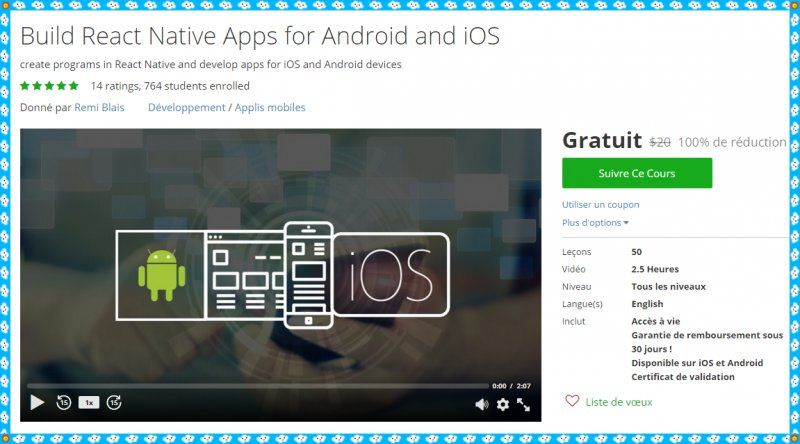 100% Free Udemy Course] Build React Native Apps for Android