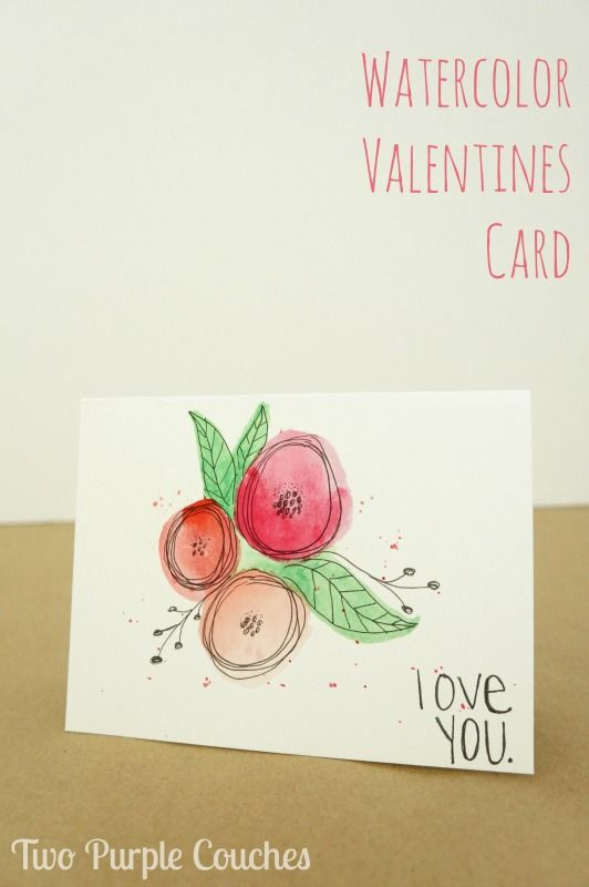 Watercolor Valentines Card Valentines Watercolor Hand Drawn