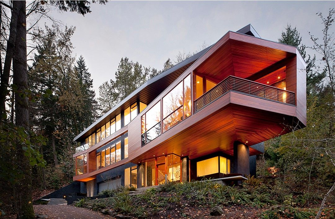 The Hoke House In Portland Oregon Designed By Architect Jeff Kovel Doubles As The Cullen House In The Twil Twilight Haus Architektur Haus Haus Architektur