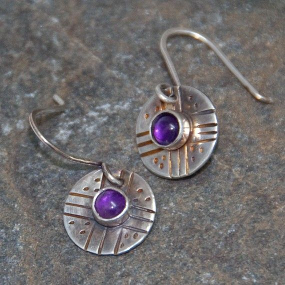 Round Purple Amethyst Earrings  sterling silver by PureDichotomy