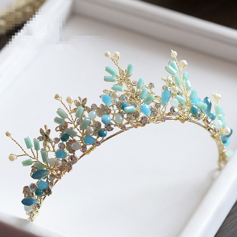 Wedding Bridal Blue Crystal Headbands Crown Tiaras Handmade Jewelry Accessories