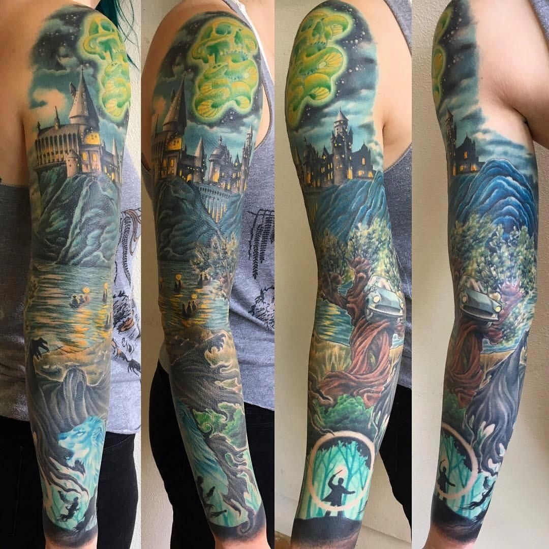 Harry Potter Sleeve By Thom Grayson At Optic Nerve In Portland Or Japanese Tattoo Sleeve Btc Harry Potter Tattoo Sleeve Best Sleeve Tattoos Full Sleeve Tattoos