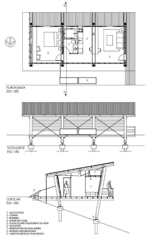 Andre eisenlohr refugio eucaliptus planos small houses - Refugios de madera prefabricados ...