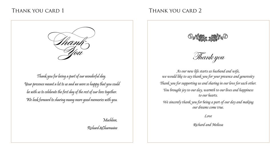 Wedding thank you card ideas for Thank you notes for wedding gifts templates