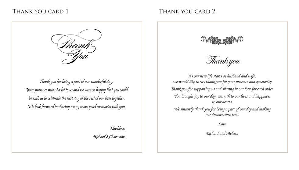 Boyfriend Thank You Letter Sample Wedding Thank You Card Ideas