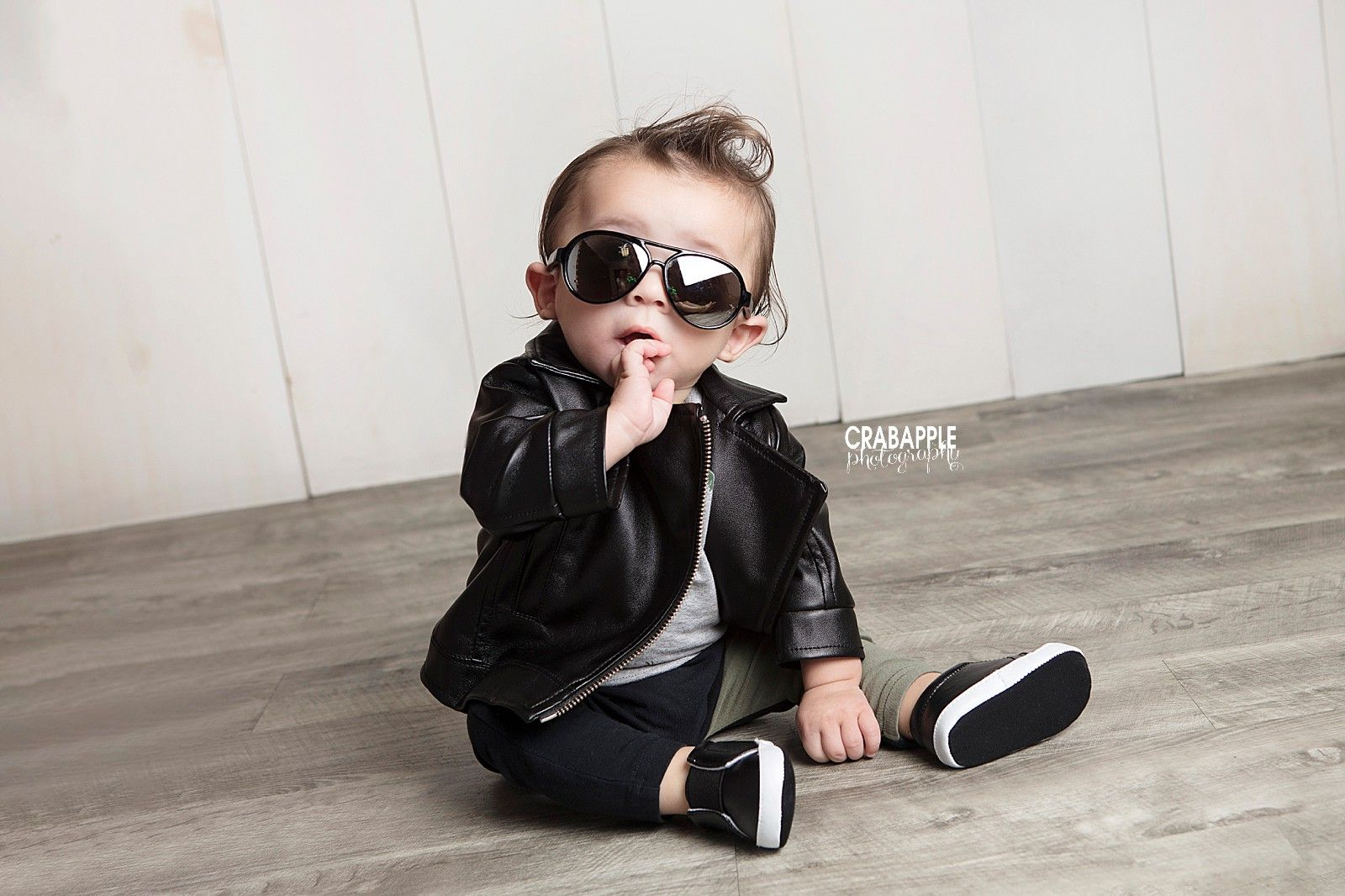 Coolest Baby In Leather Jacket Photo [ 1066 x 1600 Pixel ]