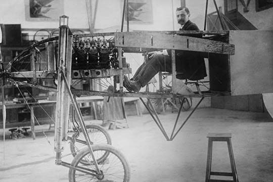 French Aviator & Engineer Louis Bleriot in his Workshop with the frame of his Monoplane, the first to make one.