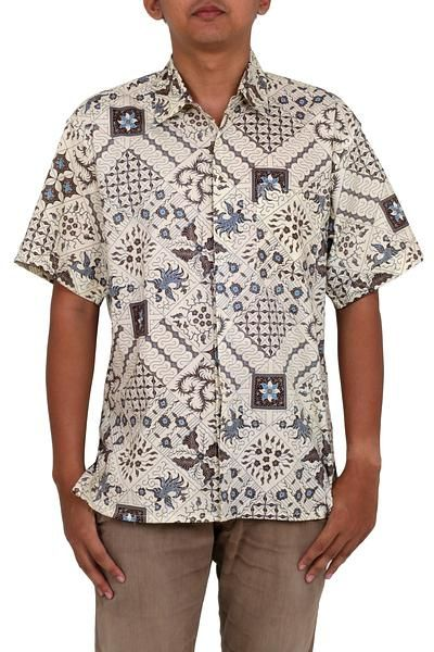 Men/'s vintage batik style button down shirt handmade in Java