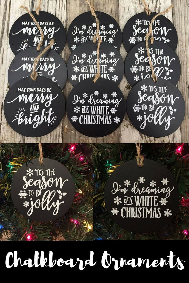 These are beautiful chalkboard ornaments that would be a fun DIY craft to do with the kids and add them to our Christmas tree.  #affiliate #ChristmasDecor