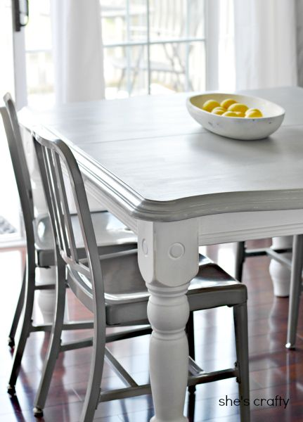 She S Crafty Grey And White Painted Kitchen Table Painted Kitchen Tables Grey Kitchen Table Kitchen Table Makeover