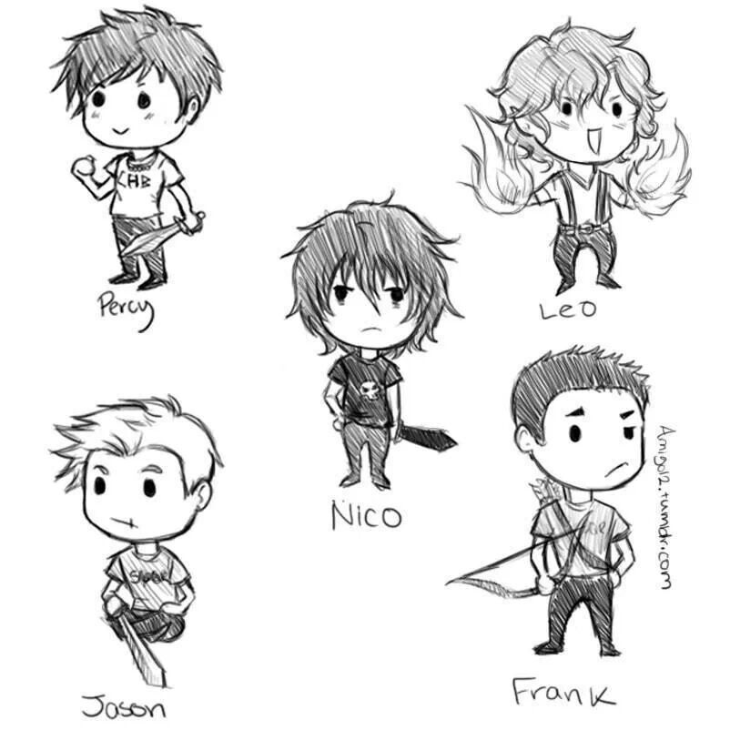 the heroes of olympus boys in chibi form ahhhh its so - Drawing Books For Boys