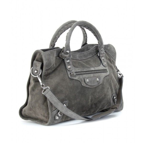 0117580a888 Balenciaga Suede Classic City Bag (12 390 SEK) ❤ liked on Polyvore  featuring bags, handbags, sacs, women, suede bag, grey suede handbag, balenciaga  bag, ...