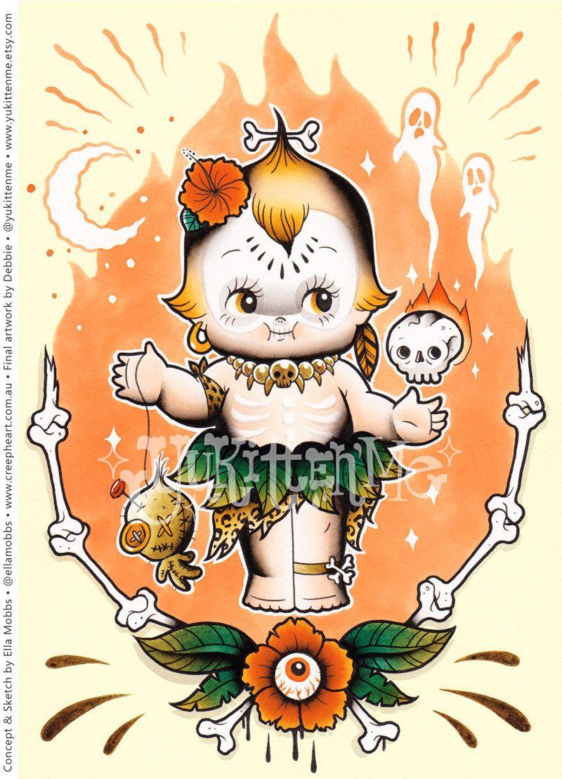 SALE!!! A4 Size Creep Heart & Yukitten'me Collaborative Project - Individual Voodoo Kewpie Print (12.00 AUD) by Yukittenme