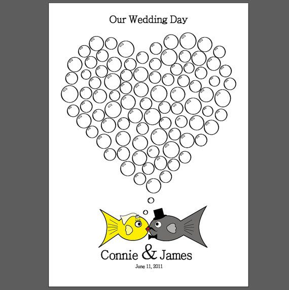 Guest book two less fish in the sea my wedding for Two less fish in the sea