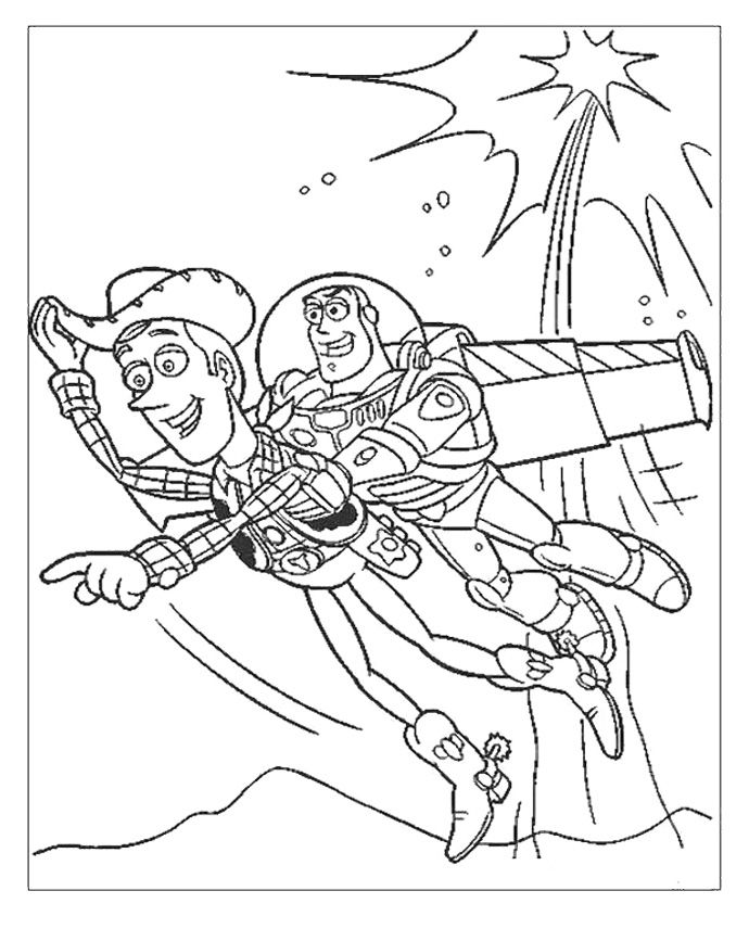 Woody And Buzz Lightyear Flying Coloring Page Toy Story Coloring Pages Cartoon Coloring Pages Bear Coloring Pages