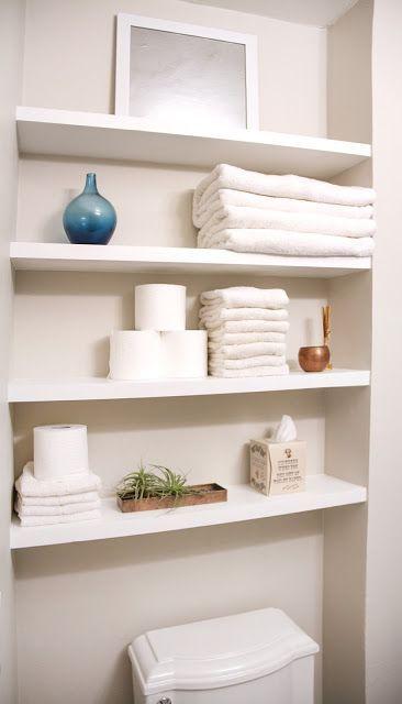 Floating Shelves Bathroom | Small Bathroom Makeover On A Budget Including Solid Wood Floating