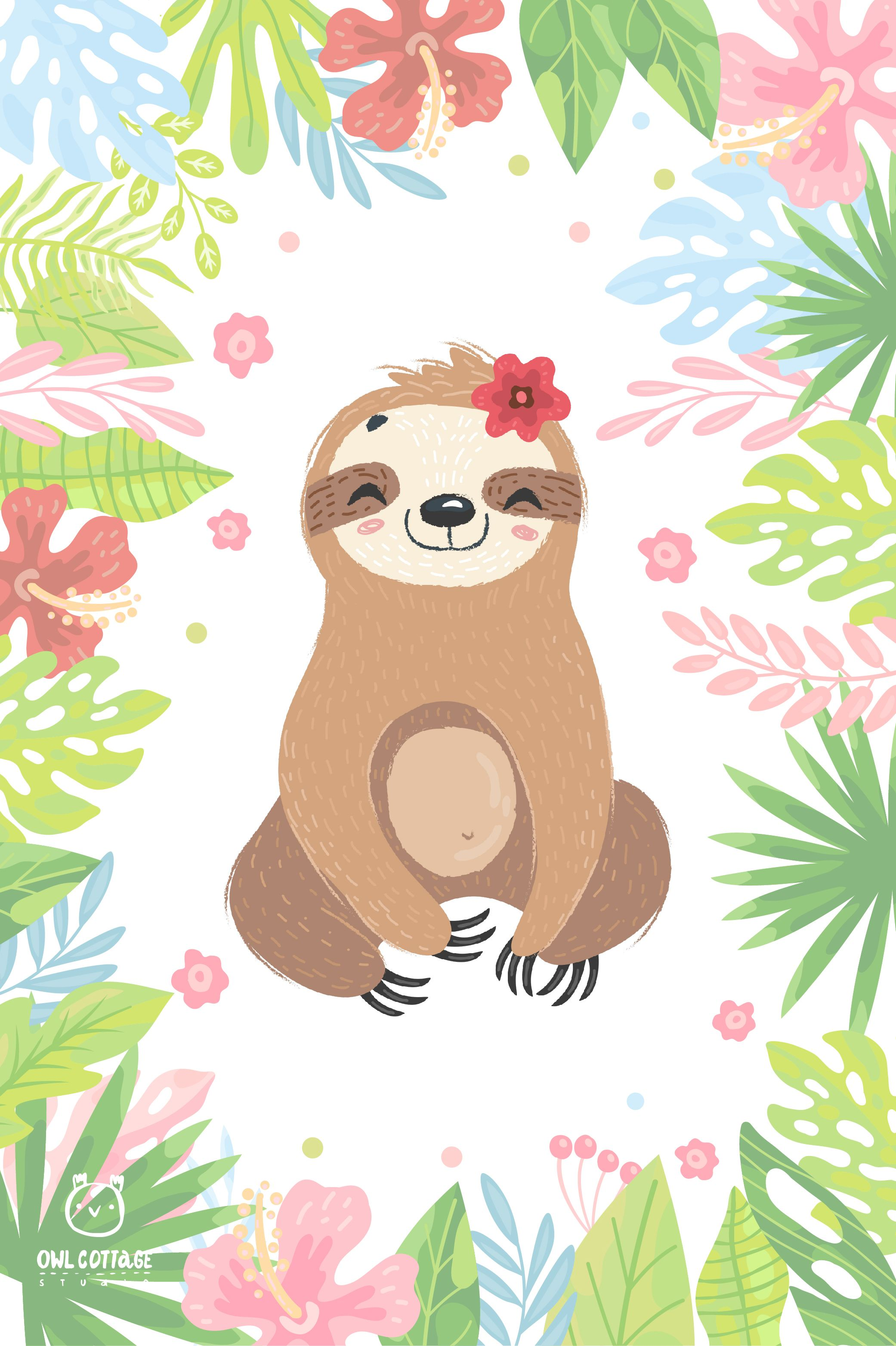 Cute Sloth Clipart Collection Vector And Png Easy Scalable 313643 Illustrations Design Bundles In 2020 Cute Sloth Sloth Art Sloth Cartoon